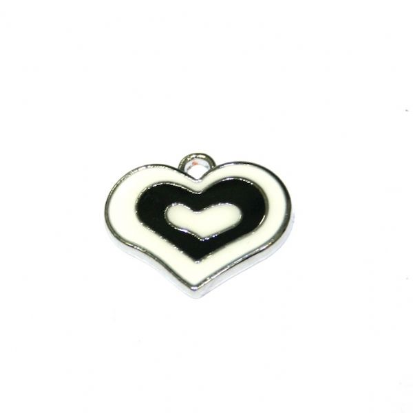 1pce x 21*18mm rhodium plated black double heart enamel charm - SD03 - CHE1215